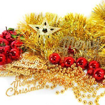 聖誕裝飾配件包組合~紅蘋果金色系 (2尺(60cm)樹適用)(不含聖誕樹)(不含燈)