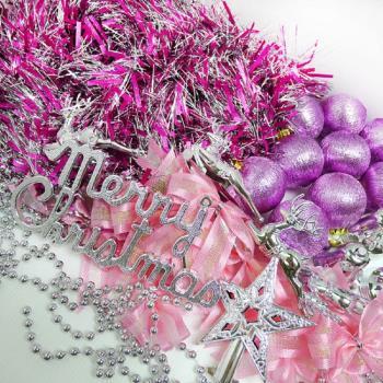 聖誕裝飾配件包組合~銀紫色系 (3尺(90cm)樹適用)(不含聖誕樹)(不含燈)