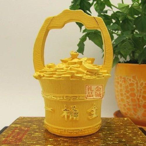 [協貿國際]   絨沙金一桶金元寶擺件
