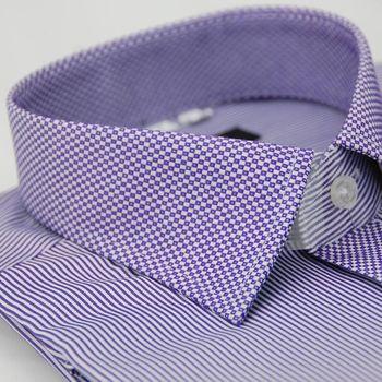 【金安德森】紫色變化領方格窄版長袖襯衫