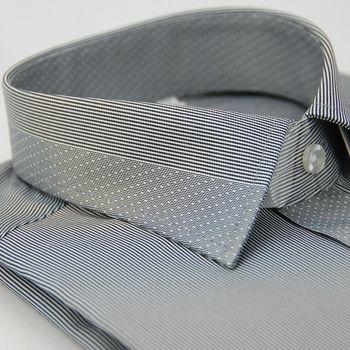 【金安德森】灰色變化領點點窄版長袖襯衫