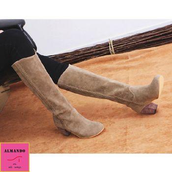 ALMANDO-SHOES ★側邊小辮木紋粗跟長靴★ 韓國空運