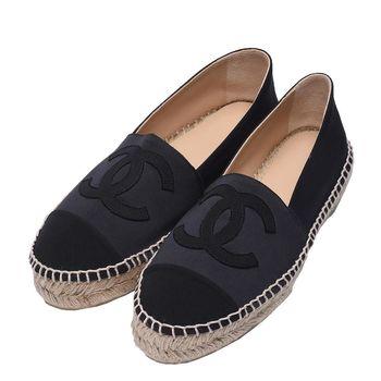 CHANEL 經典Espadrilles小香LOGO緞面厚底鉛筆鞋(黑-38)