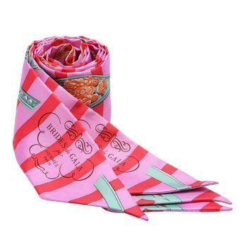 HERMES Brides de Gala條紋腰帶造型Twilly絲巾/領結(糖果粉X玉綠-一組)
