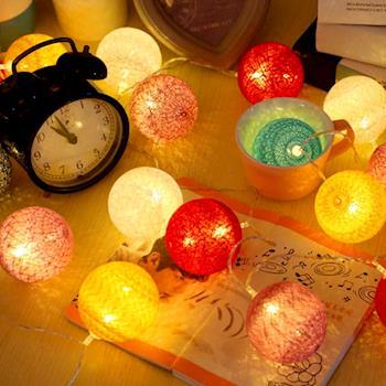 【買達人】創意彩色棉球LED燈-2入