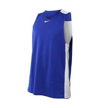 【NIKE】男針織背心-籃球背心 運動背心 慢跑 路跑 雙面 球衣 藍白