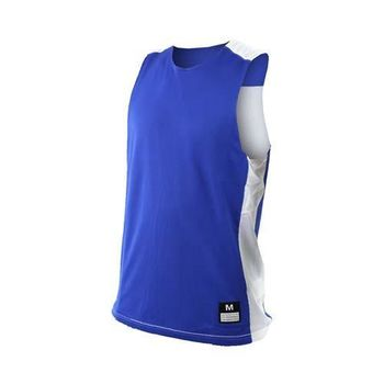 【NIKE】男針織背心-籃球背心 運動背心 慢跑 路跑 雙面 球衣 寶藍白