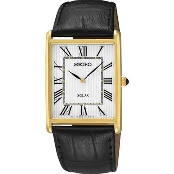 SEIKO SOLAR 太陽能羅馬城市風尚腕錶-白x金/28mm V115-0BC0S SUP880P1