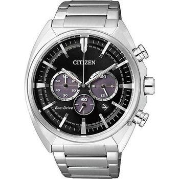 CITIZEN 星辰 Eco-Drive 黑夜來臨 三眼計時不鏽鋼腕錶/43mm/CA4280-53E