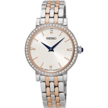 SEIKO CS 晶鑽品味時尚女錶-銀x雙色/29mm 7N00-0BJ0KS SFQ810P1