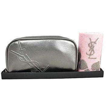 日本限定販售YSL 滿版LOGO化妝包方巾二入禮盒組(銀色)