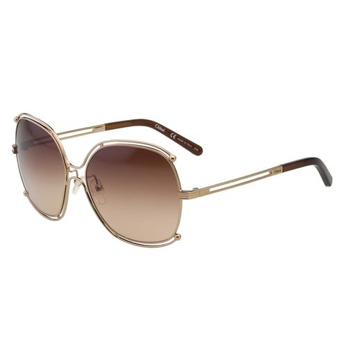 CHLOE太陽眼鏡 廣告款方框(玫瑰金+咖啡鏡片)CE129S-784