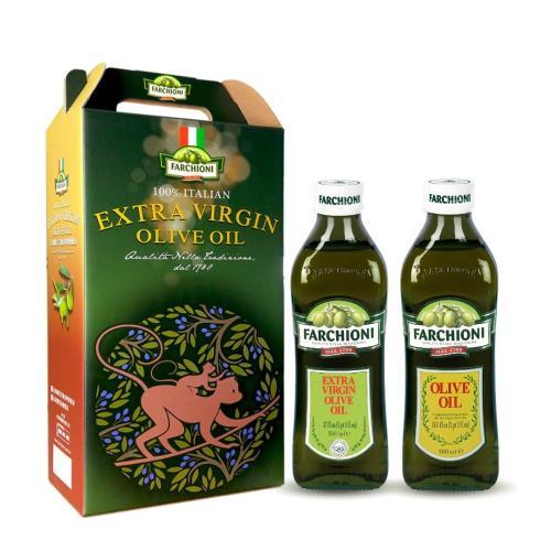 【法奇歐尼禮盒】頂級經典冷壓初榨橄欖油500ml+特級純橄欖油500ml