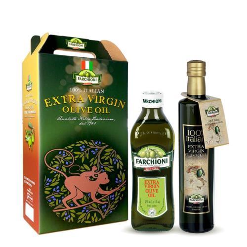 【法奇歐尼禮盒】頂級經典冷壓初榨橄欖油500ml+義大利莊園冷壓初榨橄欖油500ml