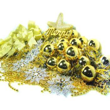 聖誕裝飾配件包組合~金銀色系 (7尺(210cm)樹適用)(不含聖誕樹)(不含燈)
