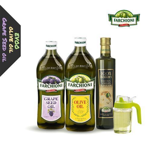 【義大利進口】法奇歐尼葡萄籽油+特級純橄欖油+莊園級冷壓初榨橄欖油+贈送油壺