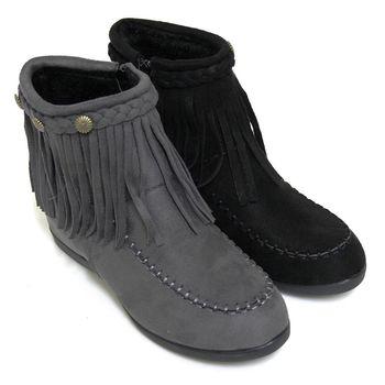 【Pretty】嬉皮流蘇絨布側拉鍊內增高短靴-灰色、黑色