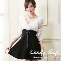 Candy 小鋪 新品特色款V型性感荷葉邊蕾絲袖A字連身洋裝 ^#40 白色 ^#47 紅
