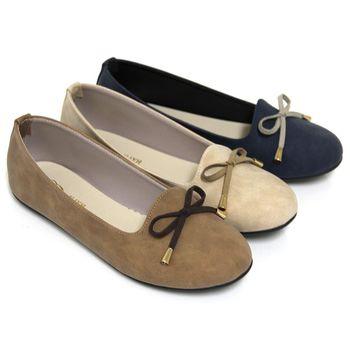 【Pretty】簡單蝴蝶結樂福平底鞋-膚色、深藍色、可可色