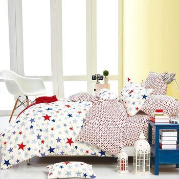 PureOne 台灣製 100%純棉 單人床包枕套兩件組 星星迷情