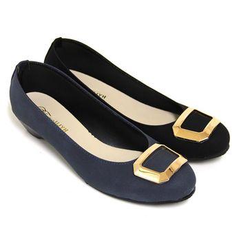 【Pretty】典雅幾何金屬低跟包鞋-藍毛、黑毛