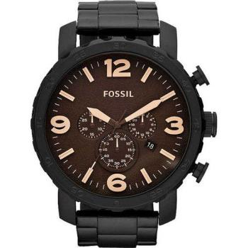 FOSSIL 大世紀戰神三眼計時腕錶-咖啡xIP黑/50mm JR1356
