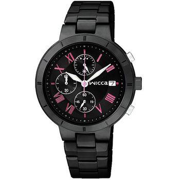 CITIZEN wicca 羅馬女孩系列計時腕錶-IP黑/34mm BM2-241-51