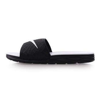 【NIKE】BENASSI SOLARSOFT女運動拖鞋-游泳 海邊 黑白