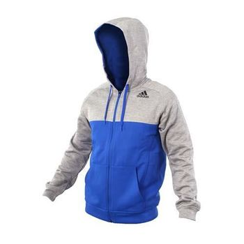 【ADIDAS】男連帽外套-慢跑 路跑 訓練 保暖 刷毛 愛迪達 灰寶藍