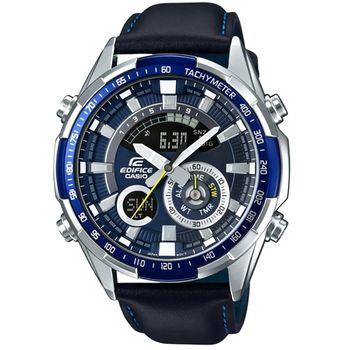 CASIO 卡西歐EDIFICE多功能雙顯皮帶錶-黑 / ERA-600L-2A (台灣公司貨)