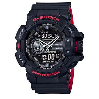 CASIO 卡西歐G-SHOCK 雙顯重機鬧鈴電子錶-黑 / GA-400HR-1A