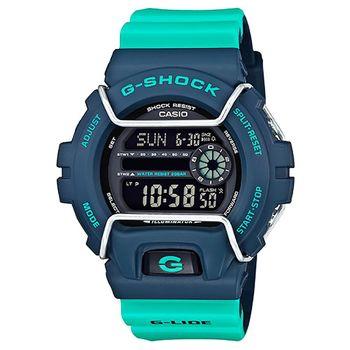CASIO 卡西歐G-SHOCK鬧鈴電子錶-湖水綠 / GLS-6900-2A