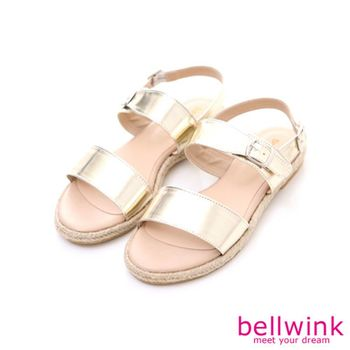 bellwink【B9128GD】個性扣環飾漆皮楔型涼鞋-金色