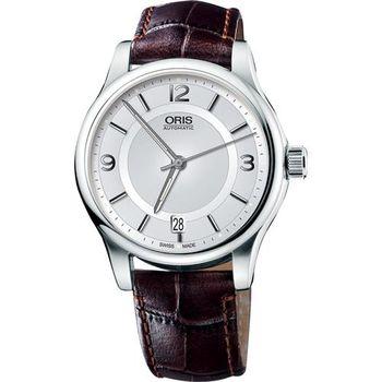 ORIS Classic Date 經典都會時尚機械腕錶-銀x咖啡/42mm 0173375944031-0752012