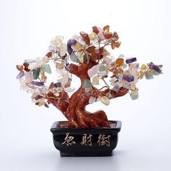 雅奇娜天然水晶七彩色發財樹擺件