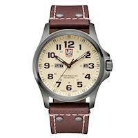 LUMINOX 雷明時 ATACAMA戰場系列藍寶鏡面腕錶 ^#45 卡其x棕色時標 ^#