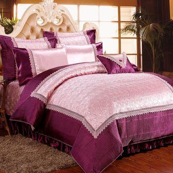 《HOYACASA光燦浮雕》雙人八件式緞面浮雕兩用被床罩組-兩款任選