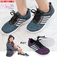 ~Shoes Club~~189~A39~ 鞋. 製MIT 綁帶針織網布 休閒跑步鞋.2色