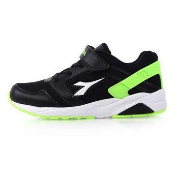 【DIADORA】男女大童流行跑鞋-慢跑 路跑 寬楦 黑白螢光綠