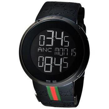 GUCCI I-GUCCI 科技時尚LCD數位電子錶-IP黑/44mm YA114207