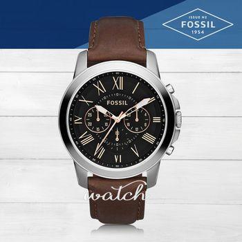 【FOSSIL】型男必備_皮革錶帶_三眼顯示_強化玻璃_指針男錶(FS4813)