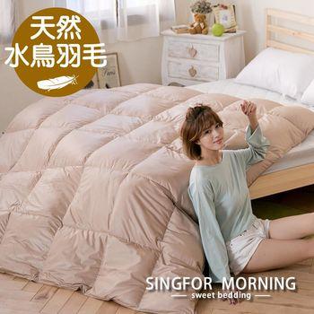 【幸福晨光】防絨100%天然水鳥羽絨冬被-雙人(焦糖棕)