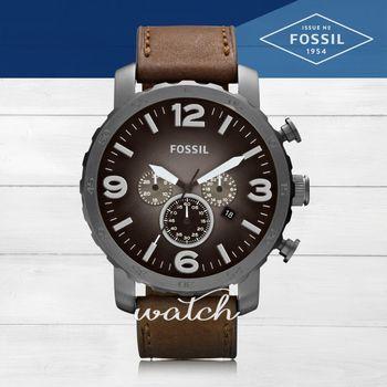 【FOSSIL】時尚經典_皮革錶帶_三眼計時功能_日期顯示_指針男錶(JR1424)