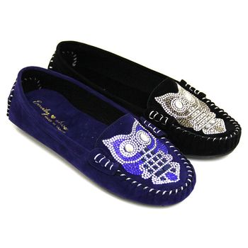 【Pretty】亮麗水鑽貓頭鷹莫卡辛平底休閒鞋-藍色、黑色