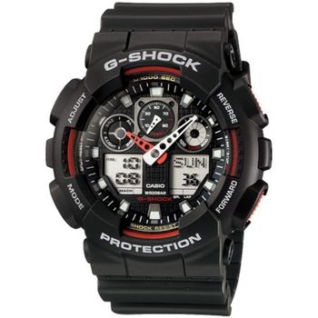 G-SHOCK 重型機械感立體3D錶盤雙顯腕錶-黑x紅(GA-100-1A4)