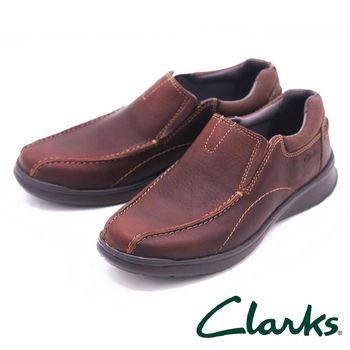 Clarks 舒適皮革直套式休閒鞋 男鞋-棕(另有黑)