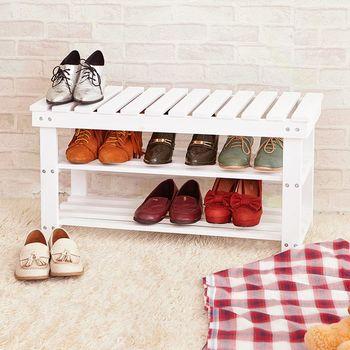 【澄境】果漾色系實木合板玄關收納鞋架/穿鞋椅