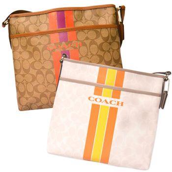 【COACH】經典Logo雙色棒球風側背包(COACH 經典款) (贈倩碧 三步皺洗面膠(溫和)210ml超越正貨旅行容量組)