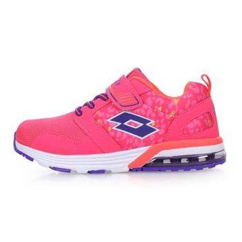 【LOTTO】男女兒童復古氣墊跑鞋-兒童鞋 慢跑 路跑 粉紅紫