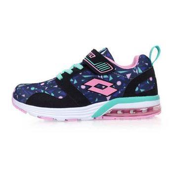【LOTTO】男女兒童復古氣墊跑鞋-兒童鞋 慢跑 路跑 丈青粉湖水綠